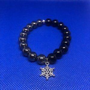 Silver Hematite & Blk Onyx Bracelet w/Snow Flake